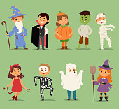 Cartoon cute kids wearing Halloween costumes vector characters. Little child people Halloween dracula, witch, ghost, zombie kids costume. Childhood fun cartoon boys and girls costume.