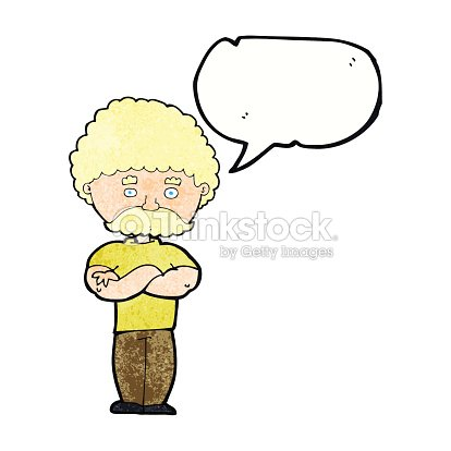 Cartoon Dad With Folded Arms With Speech Bubble Vector Art