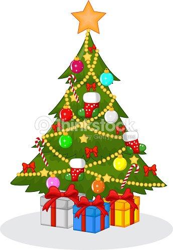 Weihnachtsbaum Comic.Cartoon Decorated Christmas Tree Stock Vector Thinkstock