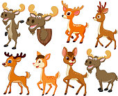 Vector illustration of Cartoon deer and moose collection set