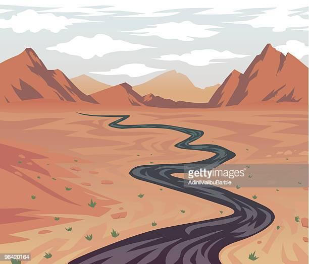 Cartoon Desert Road Leading to Canyon