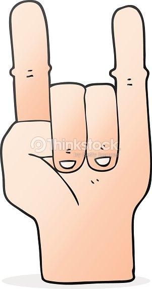 Cartoon Devil Horns Hand Symbol Vector Art Thinkstock