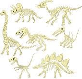 Vector illustration of Cartoon dinosaurs skeleton collection set