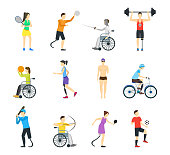 Cartoon Disabled Sports Characters Icons Set Disability Athlete Concept Element Flat Design Style. Vector illustration of Icon People