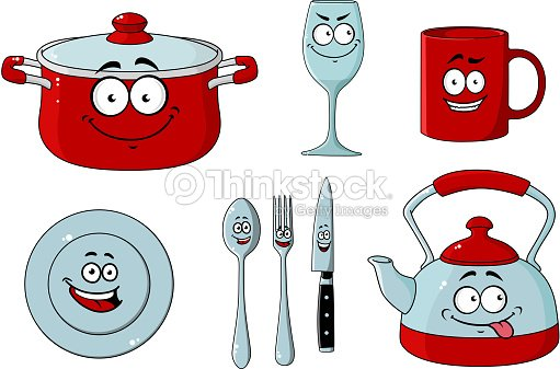 Dessin anim ensemble de vaisselle et dustensiles de - Dessin anime de cuisine ...