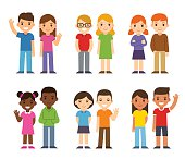 Set of cute cartoon diverse children, boys and girls. Simple flat vector style.