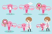 cartoon doctor with uterus on the green background