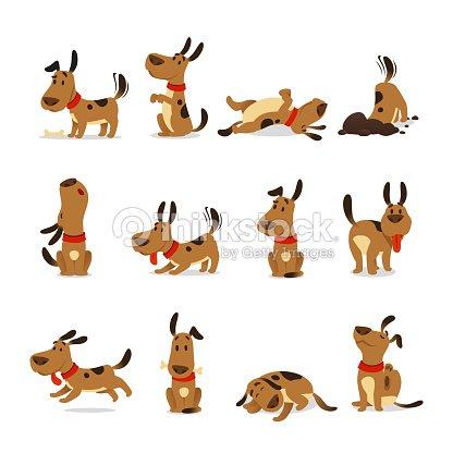 漫画犬セット。犬のトリックとダート ジャンプ睡眠を実行していると吠えるペットの食品を食べるを掘る行動ベクトル イラスト : ベクトルアート