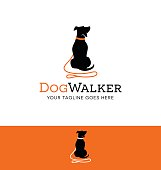 cartoon dog silhouette with red leash icon for creative use. Dog walking concept.