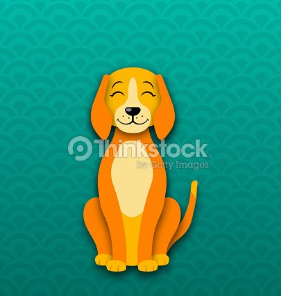 cartoon dog sitting funny doggy symbol new year 2018 vector art