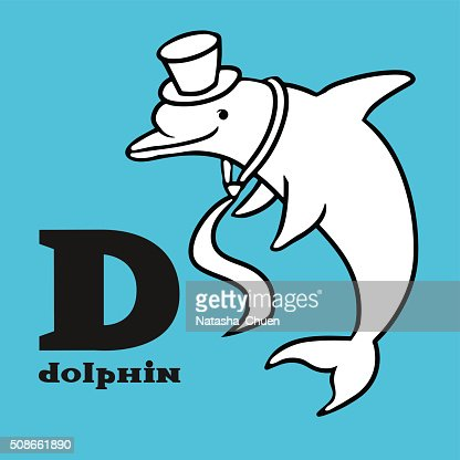 Cartoon dolphin wearing in cylinder hat and tie. Letter d. : Vector Art