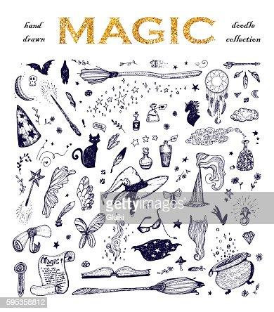 Cartoon doodle magic set. : stock vector