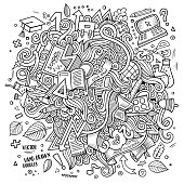 Cartoon cute doodles hand drawn School illustration. Line art detailed, with lots of objects background. Funny vector artwork. Sketchy picture with education theme items.