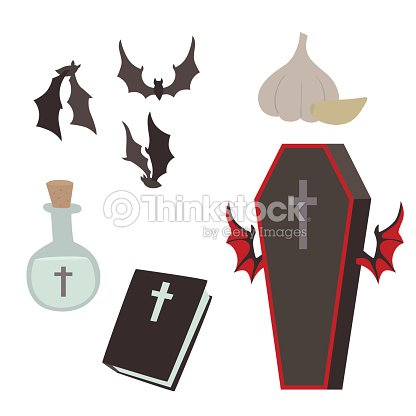 Cartoon Dracula Vector Coffin Symbols Vampire Icons Character Funny