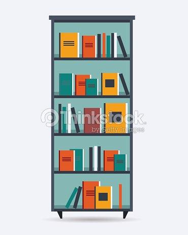 A Cartoon Drawing Of Bookshelf Vector Art
