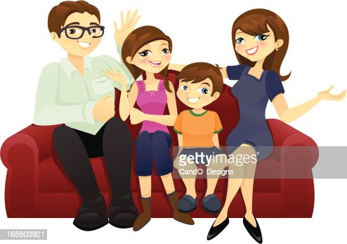 A Cartoon Drawing Of A Family Of Four Sitting On A Red