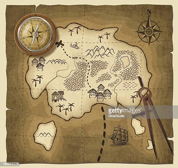 A cartoon drawing of a map with a compass