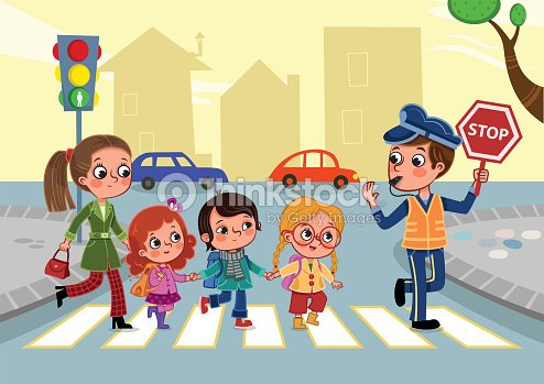 Cartoon Drawing Of Kids And Adults Crossing The Street Vector Art