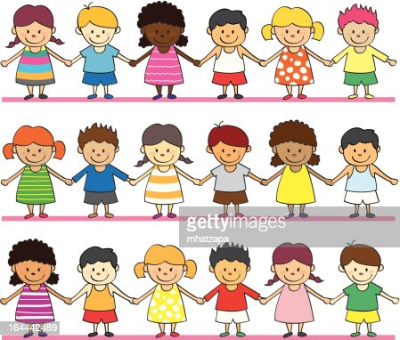 cartoon drawings of children holding hands in rows vector art - Cartoon Drawings Of Children
