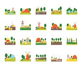 Cartoon Eco Farm Landscape Color Icons Set with Wind Generator and Rural Equipment Concept Flat Design Style. Vector illustration of Farming