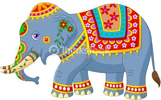 L phant indien classique en dessin anim en costume traditionnel clipart vectoriel thinkstock - Elephant indien dessin ...