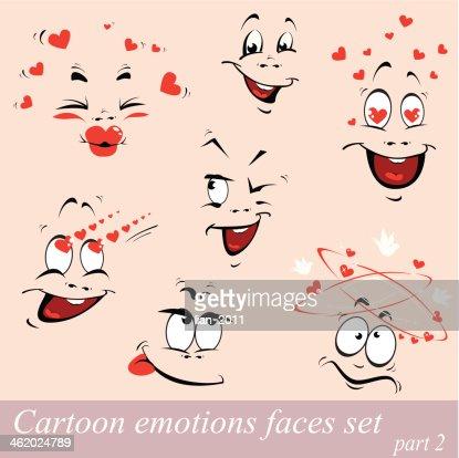 Comic Emotions Faces Set Design Fur Liebe Karte Am Valentinstag