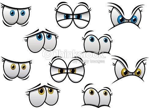 Dibujos Animados De Los Ojos Con Diferentes Emociones Arte Vectorial