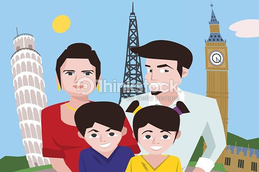 Cartoon family taking selfie against europe attractions background
