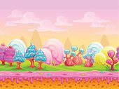 Cartoon fantasy candy land location, sweet world, seamless background with separated layers for parallax effect in game design, vector illustration