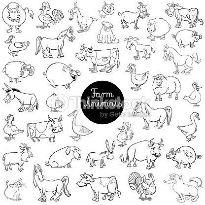 Cartoon Bauernhof Tier Zeichen Set Farbbuch Vektorgrafik | Thinkstock