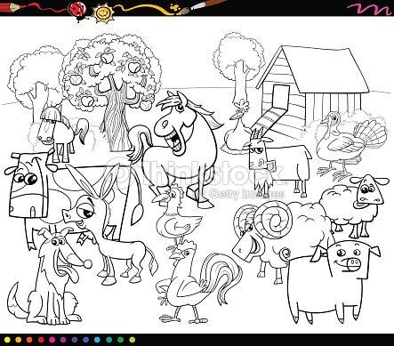 Dibujos Animados Animales De Granja Libro Para Colorear Arte ...