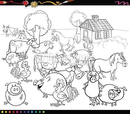 Dibujos Animados De Animales Para Colorear Arte vectorial | Thinkstock