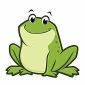 Vector illustration of a cartoon green fat frog for design element