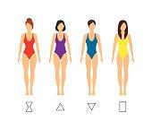 Cartoon Female Body Shape Types Woman Anatomy Figure Constitution Flat Design Style. Vector illustration