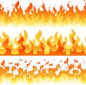 Cartoon fire flame vector seamless frame borders. Seamless orange fire border decoration illustration