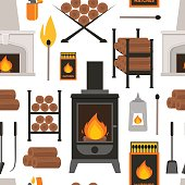 Cartoon Colorful Fireplace Background Pattern on a White Flat Style Design for Web. Vector illustration