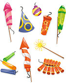 Cartoon Pyrotechnics, firework and firecracker set, with nine different pyrotechnics fireworks like: rocket, fire cracker, roman candle, roman candle firework, sparkler, sparkler firework, rocket fire