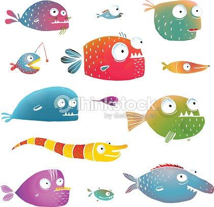 cartoon fish collection for kids design vector art thinkstock