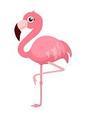 Cartoon flamingo isolated on white background. Vector illustration.