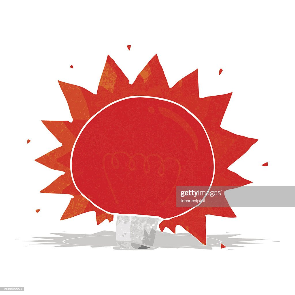 cartoon flashing red light bulb : Vector Art