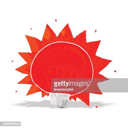cartoon flashing red light bulb : Vector Art