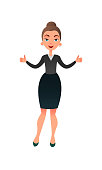 Cartoon flat business lady makes her thumbs up. Confident businesswoman focused on success. Cheerful manager giving thumbs up.