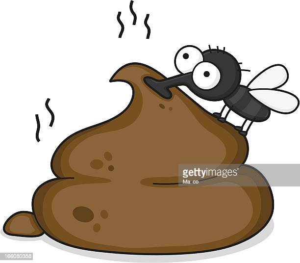 cartoon fly on a pile of shit