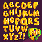 set of yellow bubble letters