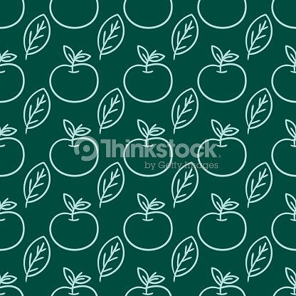 Cartoon fresh apple doodle fruits in flat style seamless pattern food summer design vector illustration
