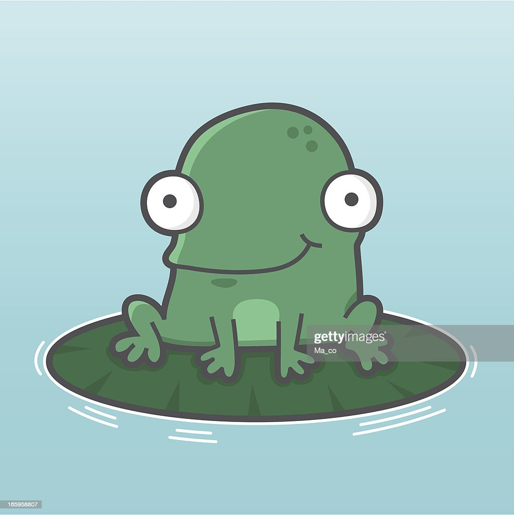 cartoon frog sitting on a pond water lily leaf vector art getty