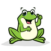 Vector illustration of a cartoon green frog thumb up for design element