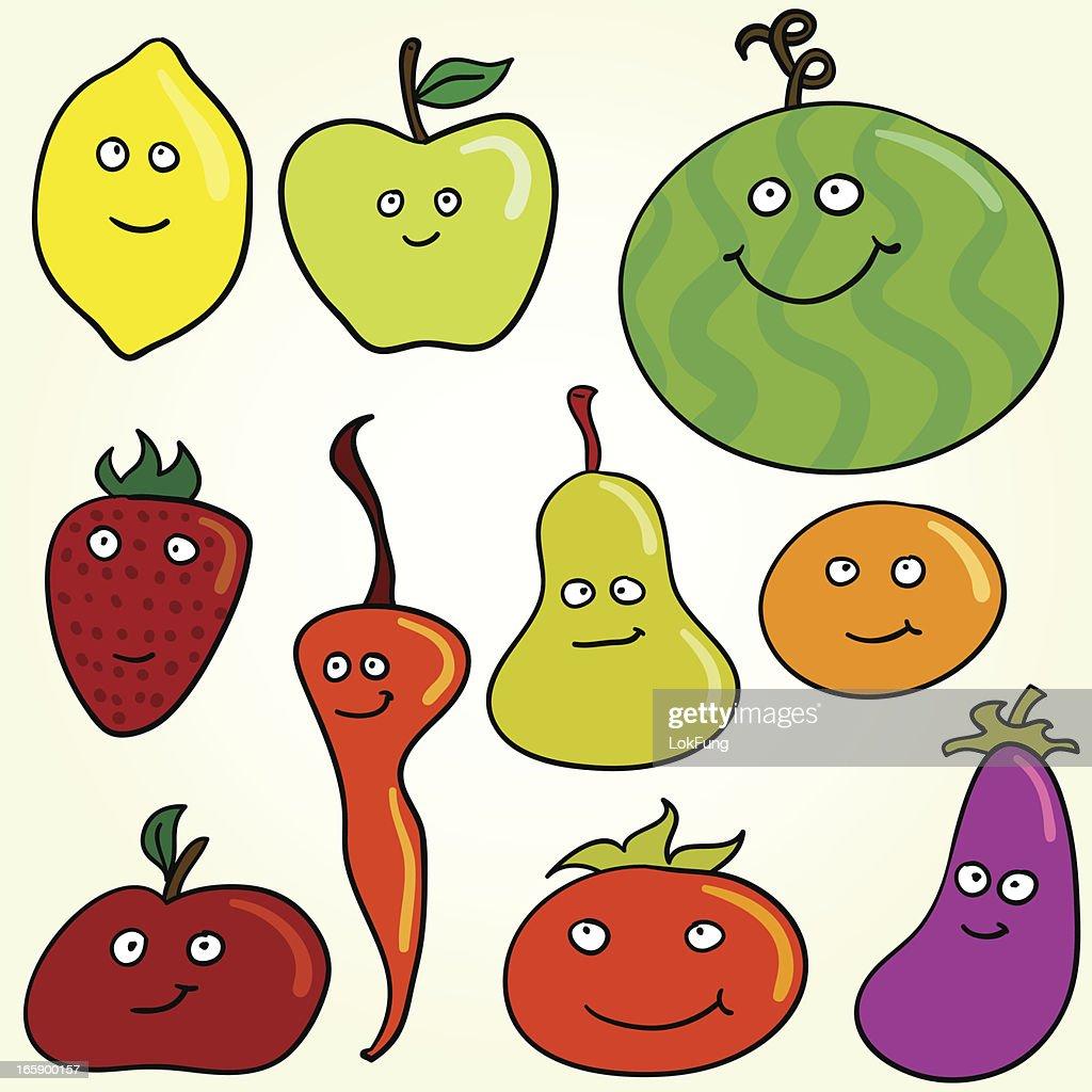 cartoon fruit character vector art getty images