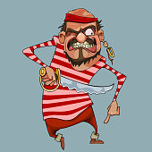 cartoon funny aggressive man in pirate clothes with a dagger