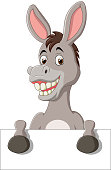 Illustration of Cartoon funny donkey holding blank sign